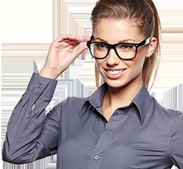 Woman wearing new glasses
