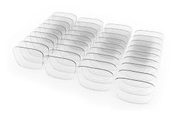 Various types of plastic eyeglass lenses